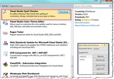 visual studio installer tutorial 2010 visual studio spell checker add in for visual studio 2012