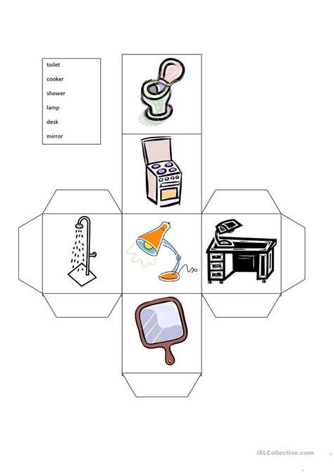 esl printable dice furniture dice worksheet free esl printable worksheets
