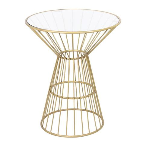 Wire Side Table Gold Wire Framed Side Table With Glass Top