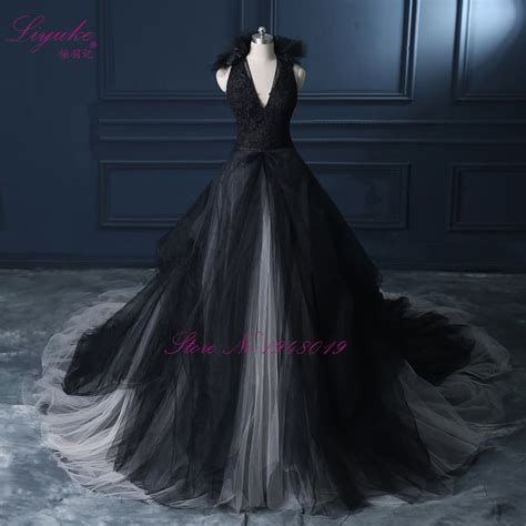 Wedding Dresses Black by Aliexpress Buy Liyuke Halter A Line Black Wedding