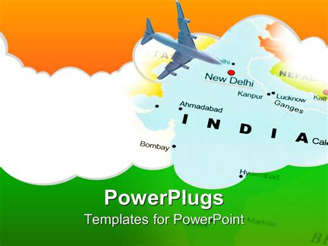 powerpoint template india new dehli air travel map with