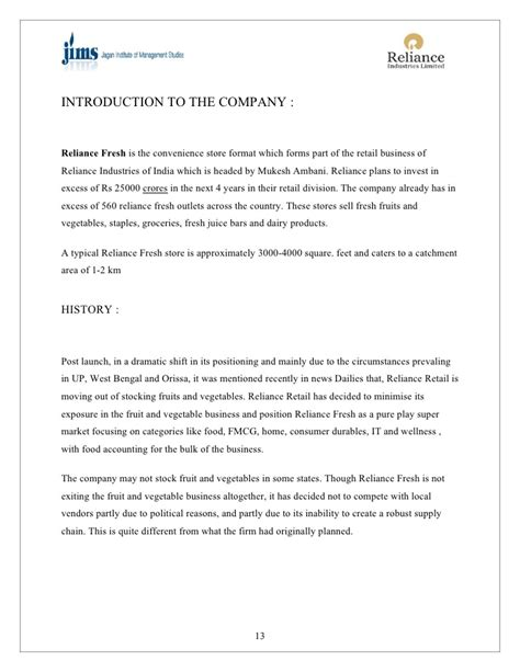 Appraisal Reliance Letter project on reliance retail
