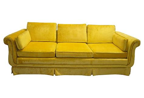 yellow velvet sofa yellow velvet sofa w green piping vintage sofas