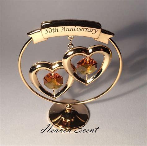 50th golden wedding anniversary gift ideas gold plated swarovski crystals sp250 ebay