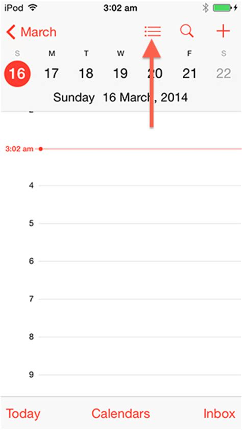 Calendar List View How To Access The Event List View In Calendar App On Ios 7 1