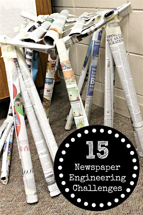 newspaper engineering challenges  kids newspaper spin  stem activities