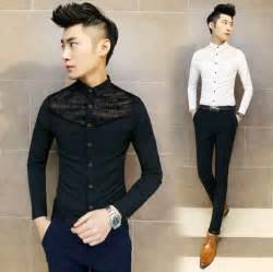 Mens lace shirt long sleeve men dress shirts casual designer clothes
