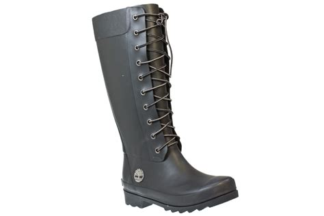 timberland welfleet womens black rubber wellington boots