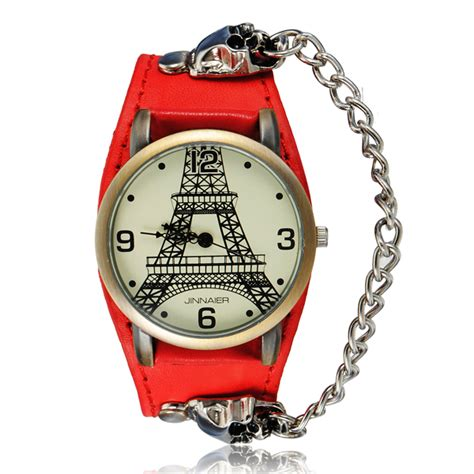 weight management tower health eiffel tower skull chain leather analog bracelet
