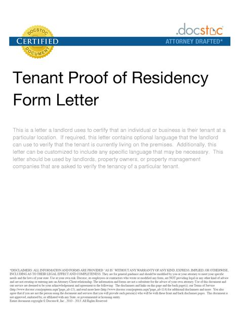 landlord proof of residency letter template proof of residency letter sle crna cover letter
