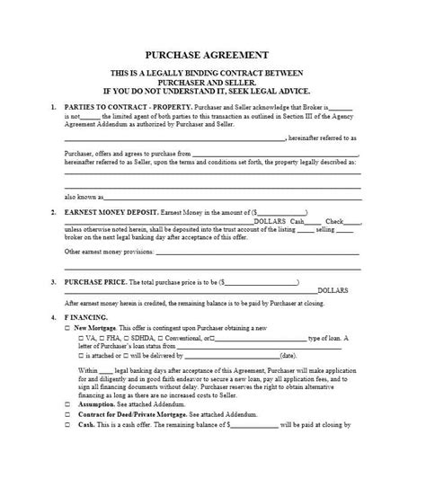 37 Simple Purchase Agreement Templates Real Estate Business Mortgage Purchase Agreement Template