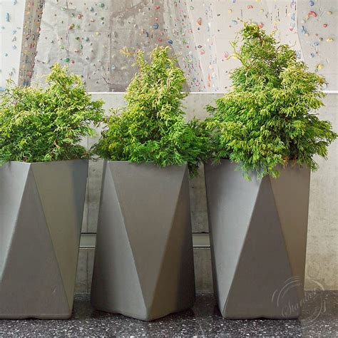 modern garden planters 28 quot tall square shape multifaceted modern outdoor garden