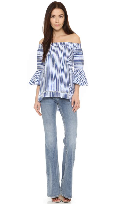 Stripe Top lyst nicholas washed stripe the shoulder top in blue