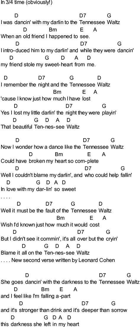 waltz lyrics bluegrass songs with chords tennessee waltz