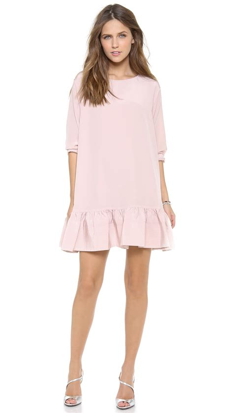 Light Pink Sleeve Dress by Cynthia Rowley Sleeve Flounce Dress Light Pink In Pink Lyst