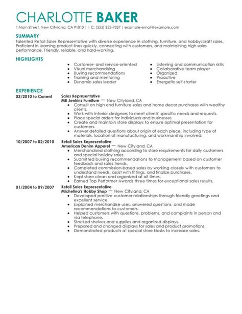 Resume Sles For Experienced Store Managers Rep Retail Sales Resume Sle Customer Service Store Manager Sle