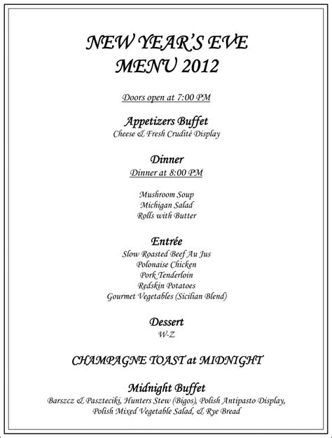 new year restaurant menu new year s menu 2012
