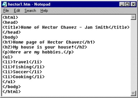 format html tags in notepad jan s html basics lists