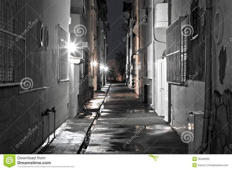 dark back of time dark back alley on a wet night stock image image 35406295