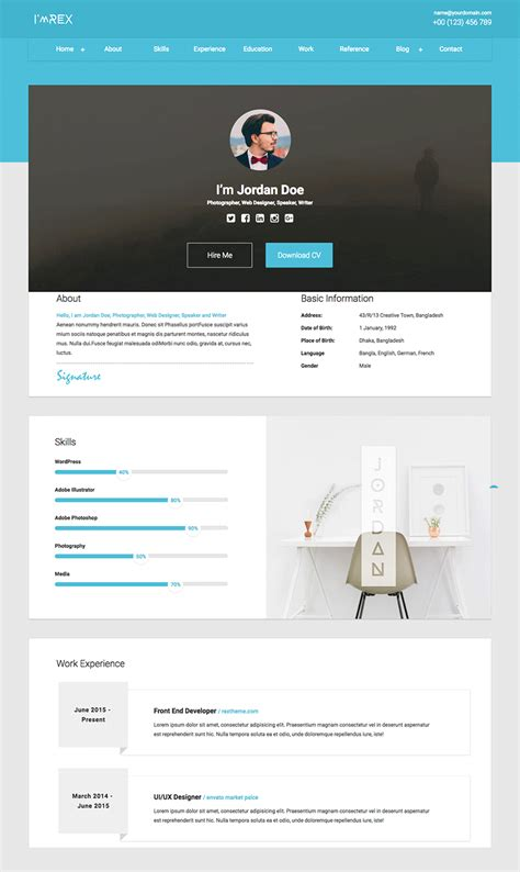 resume website examples unique material cv personal cv html template