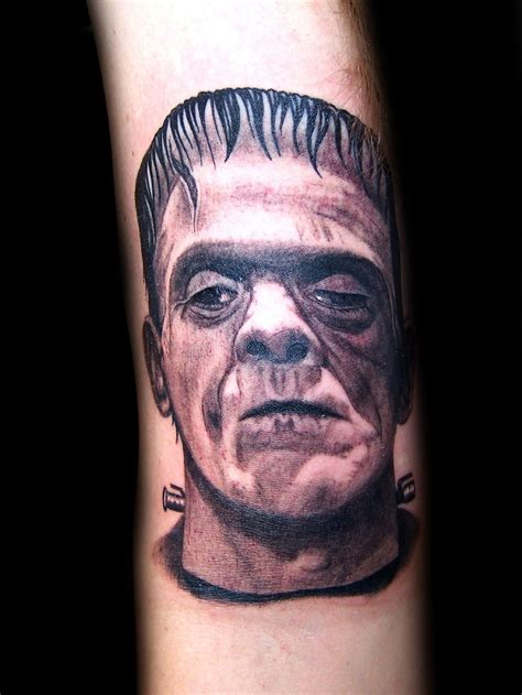 black and grey portrait tattoo dvd frankenstein realistic black grey portrait tattoo by
