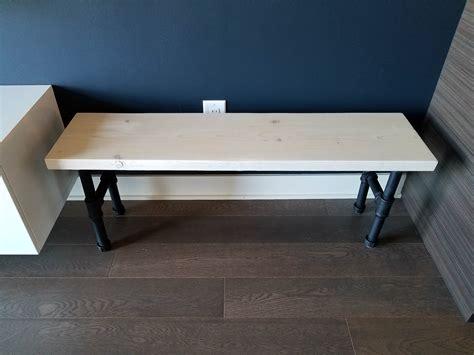 industrial bench   build  wooden bench  pipe legs