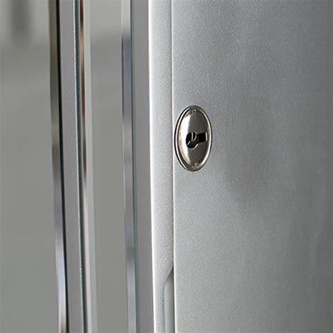 locking wall mount jewelry armoire hollywood style silver full frontal mirror locking wall