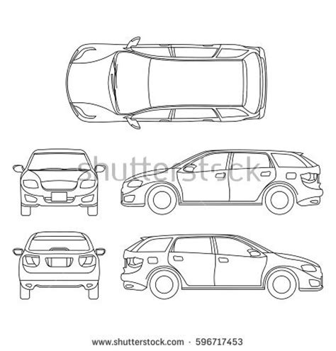 car line all view four stock vector 362605358