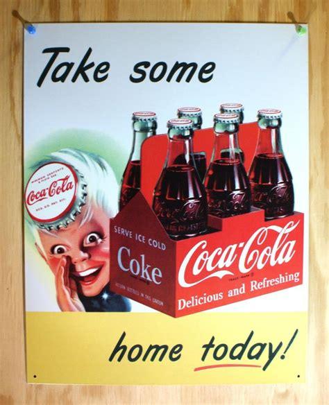 coca cola take one home soda pop vintage style metal tin coca cola take one home today 6 pack tin sign soda bottle