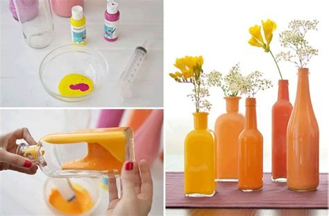How To Paint Inside Glass Vases by Paint The Inside Of Clear Bottles To Create Beautiful
