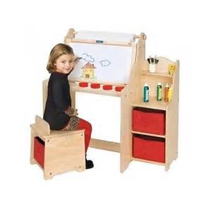 kids wood art desk set play table chair toddler storage