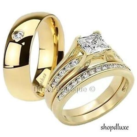 his hers 3 s s 14k gold plated wedding