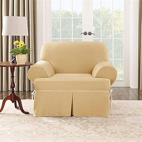canvas slipcovers surefit cotton canvas t cushion chair slipcover in maize