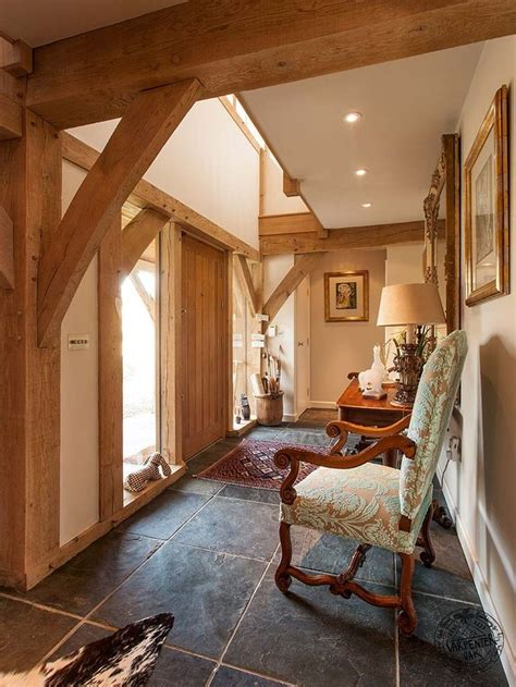 hallway with exposed oak frame in new build house in