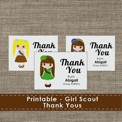 printable thank you cards girl scouts girl scout cookie thank you cards printable download