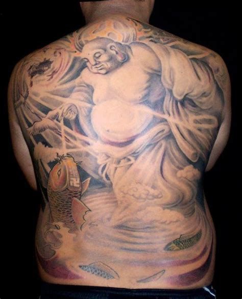 fat buddha tattoo back buddha and koi fish designs