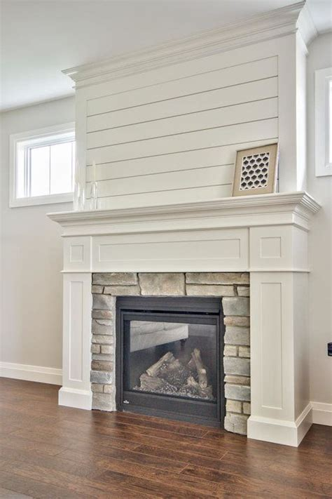 shiplap fireplace clean white custom milled fireplace surround with shiplap