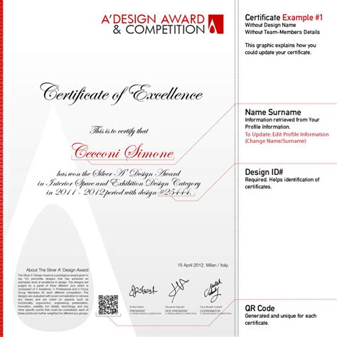a design a design award and competition winners certificate