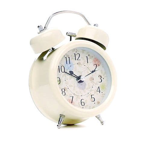 fashion cream farm vintage alarm clocks metal flower leaf twin double bell alarm clock  alarm