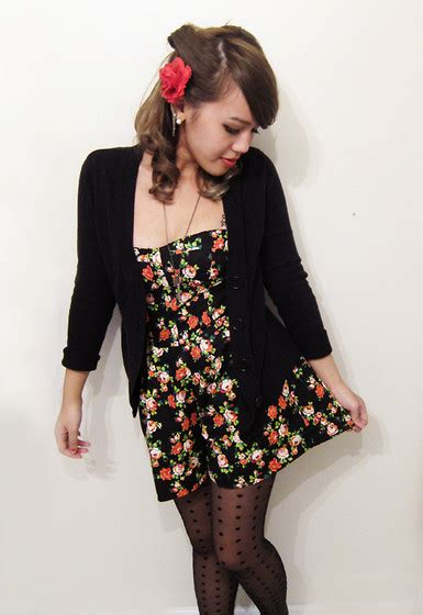 Modern Pin Up October aisha k icing flower pin black cardigan forever 21 floral romper outfitteres