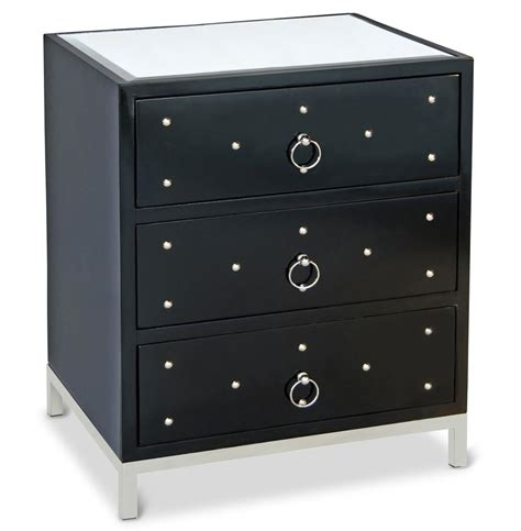 Black Lacquer Nightstand harley regency studded black lacquer nightstand