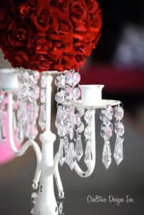Purple Crystal Chandelier Candelabra Wedding Centerpiece With Red Rose Flower Ball
