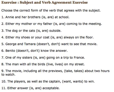 printable quiz for subject verb agreement 3 exercise subject verb agreement knittel s english