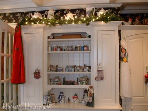 top of cabinet christmas decor holiday home tour hoosier homemade