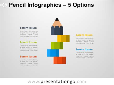 infographic pencil with 5 options for powerpoint