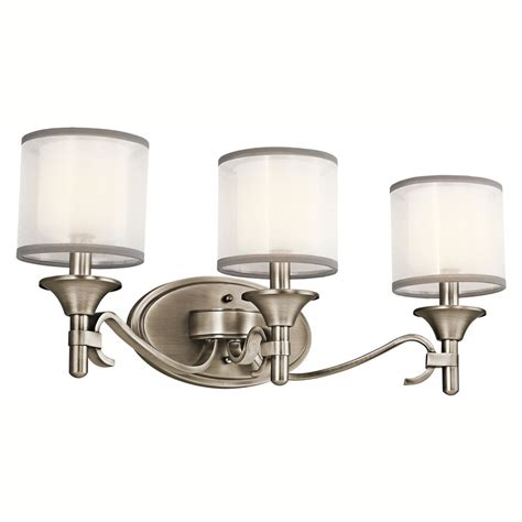 bathroom vanity light shades 45283ap lacey 3lt vanity fixture antique pewter finish with white organza fabric