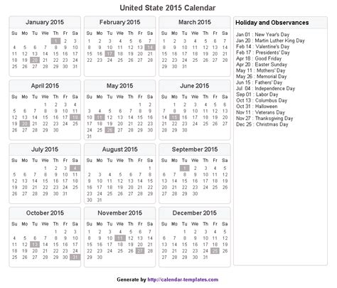 Calendar For Year 2018 United States Calendar With Holidays 2015 Pictures Images