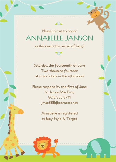 baby shower invite templates baby shower invitation template best template collection