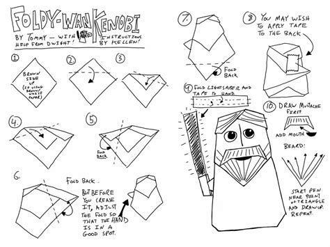 How To Make An Origami Yoda Easy - wars origami a list of diagrams for folding
