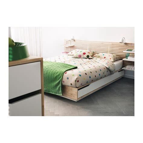 Ikea Bed Frame With Storage Mandal Bed Frame With Storage Birch White 140x202 Cm Ikea